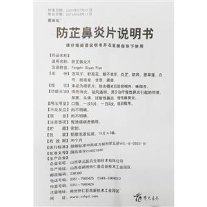 普林松 防芷鼻炎片(山西华元医药生物技术有限公司)-山西华元说明书背面图1