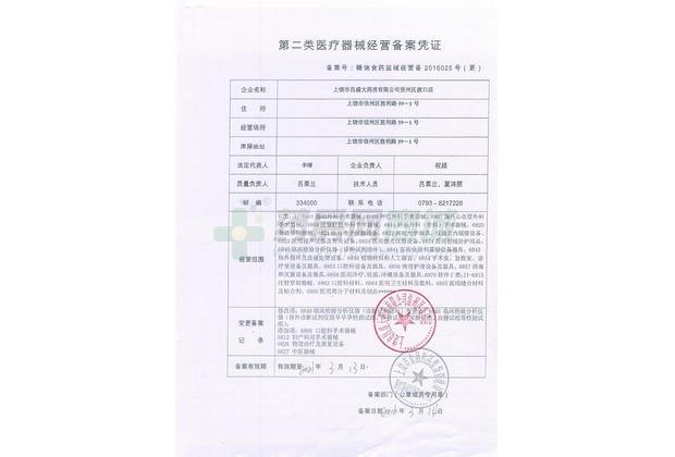 醫療器械經營許可證